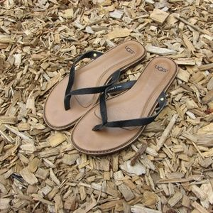 UGG Australia Black Calf Hair Flip Flops Sandals